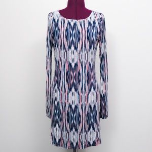 Navy, Pink and White Long Sleeve Dress